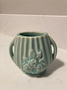 Vintage Miniature Nelson McCoy Vase Blue with Embossed Rose Design