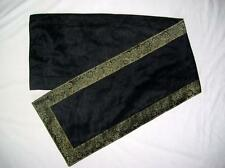 NEW 110CM LONG BLACK FAUX SILK TABLE RUNNER CLOTH SARI BORDER INDIA