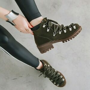 Womens Lace Up Retro Shoes Comfort Suede Outdoor Causal Ankle Boots Round Toe