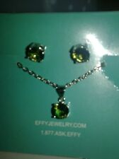 EFFY STERLING SILVER GREEN TOPAZ NECKLACE AND STUD EARINGS SET-3.00 TCW