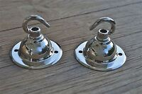 PAIR OF ANTIQUE STYLE CHROME LIGHT ROSE HOOK CEILING HOOK CHADELIER HANGER NR7