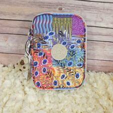 New Kipling 100 Pens Pencil Case Cosmetic Pouch Whimsical Patch Flower