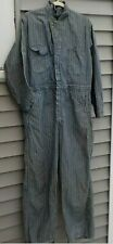 Vintage 1950s Wrangler Blue Bell Sanforized Coveralls 42 Reg Herringbone Striped
