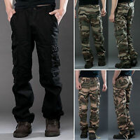 Men's Camo Cargo Pants Military Army Combat Work Camping Trousers Multi Pockets