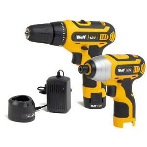 Wolf 12v Cordless Drill and Impact Driver Twin Pack Kit with Battery and Charger
