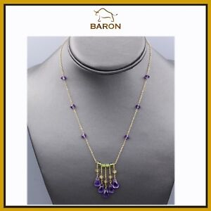 DANGLE AMETHYST BEADED NECKLACE 14K YELLOW GOLD DANGLING BEADS AMETHYST   md