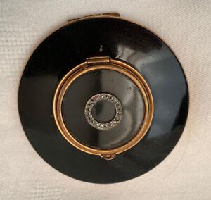 Rare Vintage Kigu Minerva 53 Series Locket Top Black Enamel & Marcasite Compact