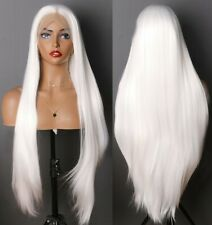 24inch Synthetic Lace front wigs Handtied Straight Daily Use Snow white Women