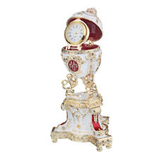 Faberge Egg Trinket Jewel Box Lions & Russian Emperor's Crown with clock 5'' red