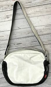 Bugaboo White Leather (Red) Large Shoulder Daddy Messenger Diaper Baby Bag
