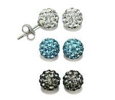 3 Pairs White-Blue-Gray 925 Silver Shamballa Crystal Disco Ball Earrings 8mm