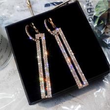 Fashion Long Geometric Rectangle Rhinestone CZ Drop Earrings Gold Silver Jewelry