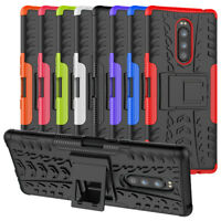 For Sony Xperia 1 Case Rugged Armor Hybrid Shockproof Kickstand Cover & Film
