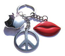 Triple Charm Keyring Peace Red Lips Apple Charms Chrome Key Chain Gift Boxed