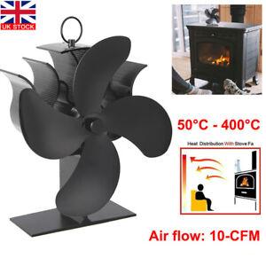 4-Blade Stove Top Fan Eco Heat Powered Wood Burning Log Fire Burner Stove Fan