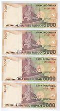 2001 ( 2008 ) Indonesia 5000 Rupiah Solid No. Note 4 pcs VRC, D, E, F 333333 UNC