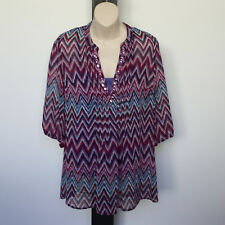 'REGATTA' EC SIZE '12' ZIG-ZAG RPITN SHEER LINED 3/4 SLEEVE TOP WITH BEADING