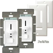 2 Pack Decorator Slide Dimmer Light Switch 3-Way Intensity LED Locator W/Cover