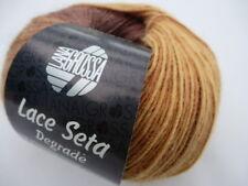 Lace SETA DEGRADE Lana Grossa Color 114 Amarillo Dorado / Ocre / Turrón 50g Lana