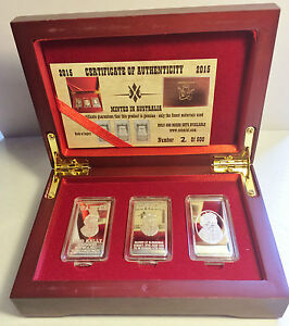 NED KELLY Set Of 3 x 10grm Ingots With Display Box Finished in 999 Silver LTD