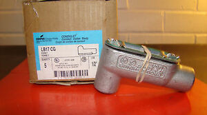 "COOPER LB17 CG Conduit Outlet Body 1/2"" 2- Hubs 90° Left Back Rigid"