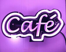 "Café 3D Carved Neon Sign 14"" Light Lamp Shop Bar Artwork Wall Decor Poster"