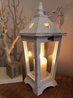 Large White Wooden Lantern Candle Holder Hearts Wedding Tabletop Decoration