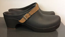 Womens Crocs Sarah Brown Rubber & Leather Strap Heeled Clogs Mules Shoes Sz 9