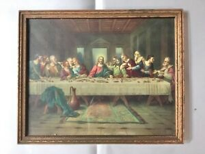 """Antique BRUNOZETTI """"The Last Supper"""" Print Gold Wood Frame, Jesus Disciples NICE"""