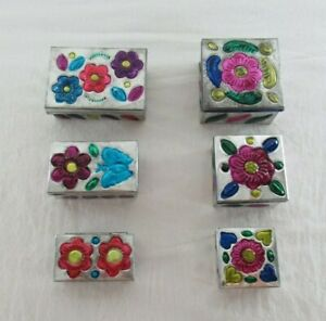 Decorative Metal 3-Piece Set of Flowered Nesting Boxes Lot of 2 Mexico 6 Total