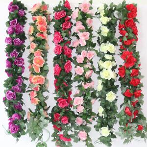 8Ft Artificial Rose Garland Silk Flower Vine Ivy Wedding Garden String Decor