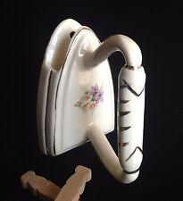 Vintage WALL POCKET VASE Clothes Iron Ivory Planter Flowers 1950s Laundry Decor