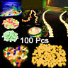 Pack Of 100 Luminous Stone Pebbles Glow In The Dark Garden Fish Tank Decor Gifts