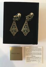 Heidi Daus Art Deco Green Swarovski Crystal Dangle Clip On Earrings w/ Box Ppwrk