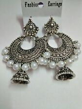 Fashion Indian Pearl jhumka Earrings Ethnic Bollywood Women silver Oxidized