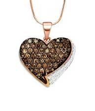 Chocolate Brown & White Diamond Pendant 10K Rose Gold Heart Cluster .85ct
