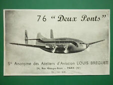 1950'S PUB AVION BREGUET 76 DEUX PONTS AIR FRANCE AIRLINE ORIGINAL AD