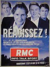 PUBLICITÉ RMC INFO TALK SPORT RÉAGISSEZ - CAHOUR - BOURDIN - TRUCHOT - MARSCHALL
