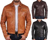 Brandslock Mens Genuine Leather Biker Jacket Slim Fit Bomber