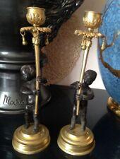 Paire de Bougeoirs en Bronze à 2 teintes Putti Angelot Epoque Restauration ?