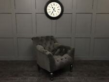 MODERN MR BRIGHT, STIRLING STYLE CHAIR GREY VELVET CHESTERFIELD ARM CHAIR