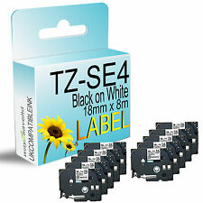 10 compatible with Brother TZ-SE4 Black on White Security Tape 18mm x 8m P-Touch