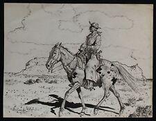 Hernando Gonzallo Villa Listed Original Pen & Ink On Paper Vaquero On Horseback