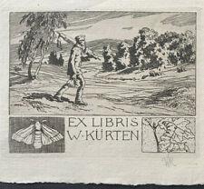 Otto UBBELOHDE (1867-1922) Exlibris Moth Caterpillar Etching C3 Radierung H