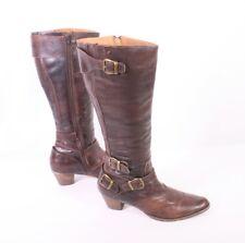 26S Buffalo Damen Stiefel Gr. 36 Leder braun Schnallen Biker Blockabsatz Boho