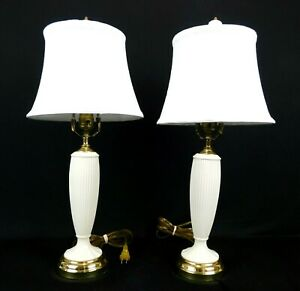 """2 Lenox 23"""" Fluted Porcelain Brass Table Lamps Ivory Shades"""
