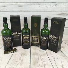Lot of 3 empty Ardbeg Scotch bottles & Boxes Crafts Glass Cutting Bar Decor Q
