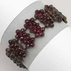 Antique Victorian Bohemian Garnet Cluster Link Bracelet
