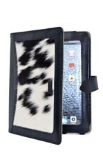 iPAD 2, 3 & 4 COVER BLACK REAL LEATHER WITH COW SKIN FUR LUXURY CASE STAND