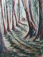 Lysiane D. COSTE huile sur papier dessin oil on paper paysage forêt 50/65cm 2005
